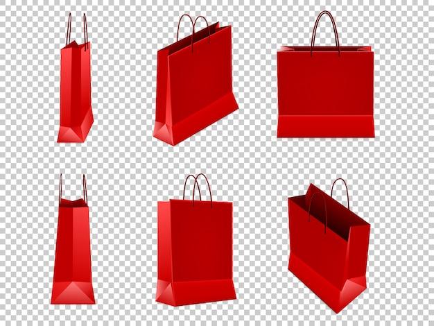 Conjunto de bolsas rojas de plástico o papel con asas sobre fondo transparente. ilustración.