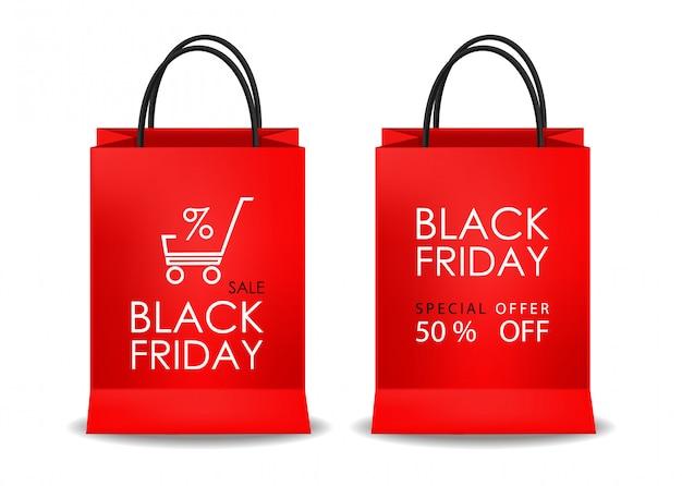 Conjunto de bolsas rojas, venta de viernes negro, objeto aislado, ilustración