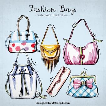 Conjunto de bolsos elegantes de acuarela