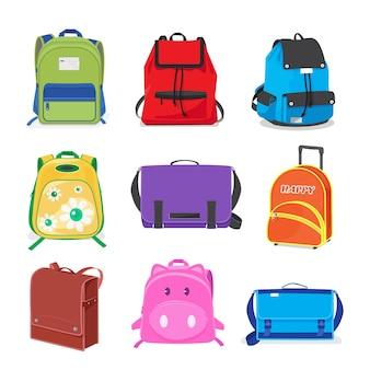 Conjunto de bolsos de escuela de niños aislados