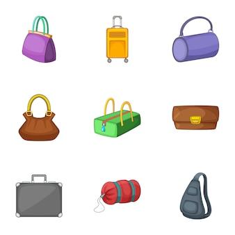 Conjunto de bolsos y maletas, estilo de dibujos animados