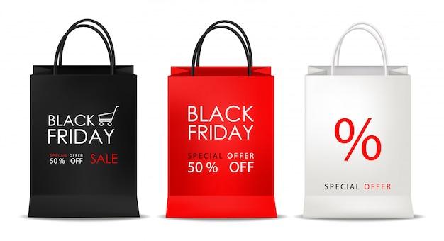 Conjunto de bolsos, negro, rojo y blanco, venta de viernes negro, objeto aislado, ilustración