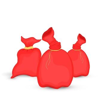 Conjunto de bolsos santa claus. ilustración de la bolsa roja de navidad. colección de año nuevo. aislado sobre fondo blanco.