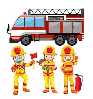 Conjunto de bombero y camión.