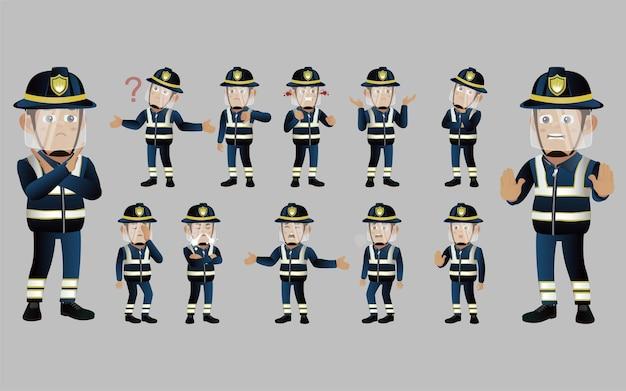 Conjunto de bombero con diferente emoción.