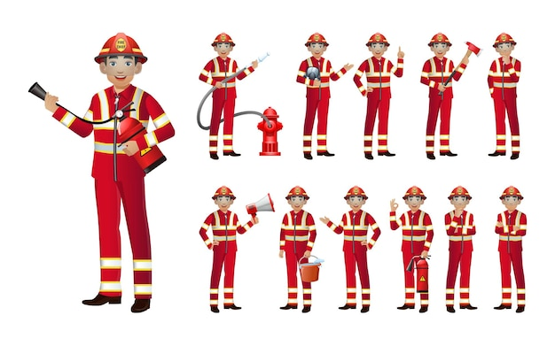 Conjunto de bombero con diferentes poses.