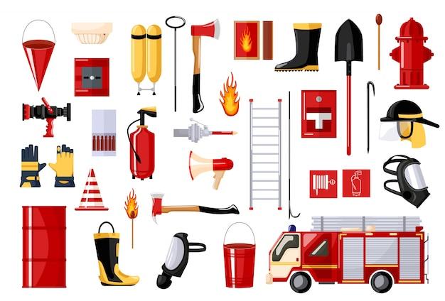 Conjunto de bombero sobre fondo blanco. vehículo contra incendios e hidrante, casco, manguera, extintor, escalera, máscara de gas. estilo plano