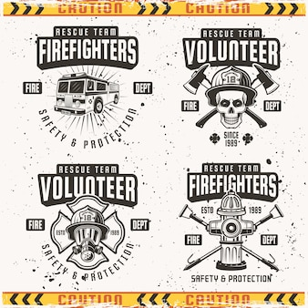 Conjunto de bomberos de cuatro emblemas, etiquetas y logotipos en vintage sobre fondo con texturas grunge en capas separadas y marco de cinta de precaución