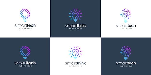 Conjunto de bombilla de lámpara de símbolo de diseño de logotipo de tecnología inteligente de colección.