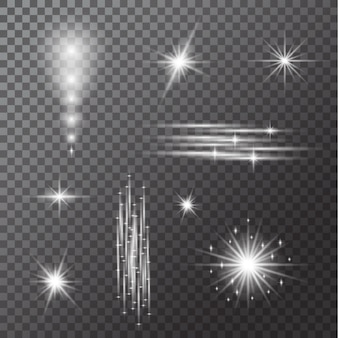 Conjunto de bombillas aisladas sobre fondo transparente