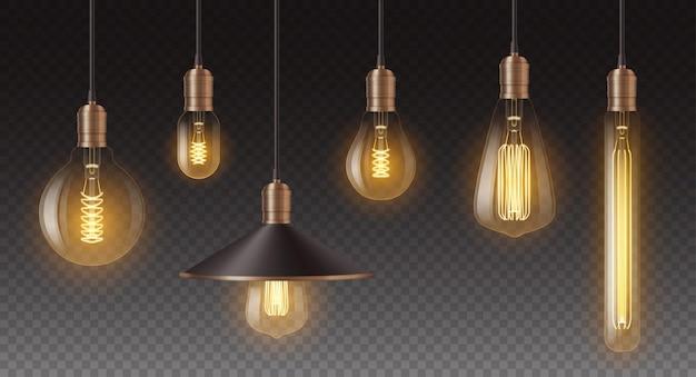 Conjunto de bombillas retro realistas