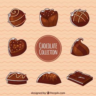 Conjunto de bombones de chocolates con sabores diferentes