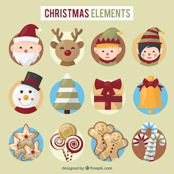 Conjunto bonito de elementos de navidad