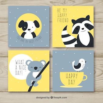 Conjunto bonito de tarjetas con animales felices