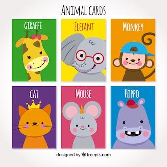 Conjunto bonito de tarjetas con animales sonrientes