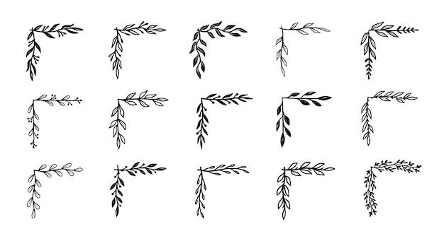 Conjunto de borde de florecimiento de esquina. esquina de estilo doodle dibujado a mano con elemento floral rústico. frontera de ilustración vectorial.