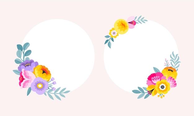 Conjunto de borde de flores de colores. marcos florales circulares.