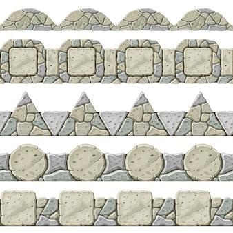 Conjunto de borde gris antiguo transparente