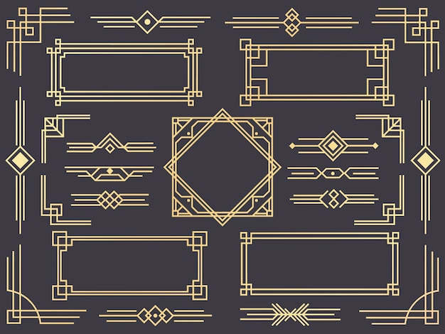 Conjunto de borde de línea art deco, adornos dorados, separadores y marcos en estilo gatsby