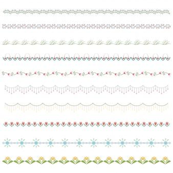 Conjunto de borde de línea y elemento de diseño de garabato.