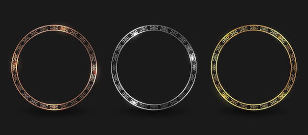 Conjunto de borde de marco de círculo de bronce, plata y oro de lujo