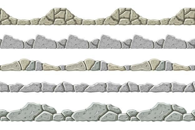 Conjunto de borde de piedra gris antiguo de patrones sin fisuras.