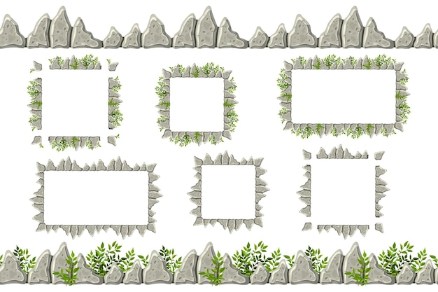 Conjunto de borde de roca gris antiguo, marcos con hierba.