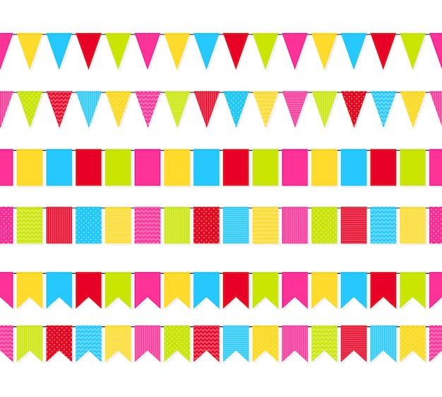 Conjunto de borde transparente de banderas coloridas guirnaldas