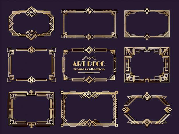 Conjunto de bordes art deco. marcos dorados de 1920, estilo geométrico de lujo nouveau, adornos vintage abstractos. elementos art deco