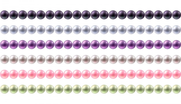 Conjunto de bordes coloridos perlas redondas. bordes horizontales sin costuras para.