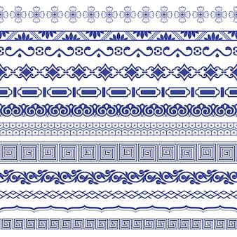 Conjunto de bordes sin costura de porcelana china.