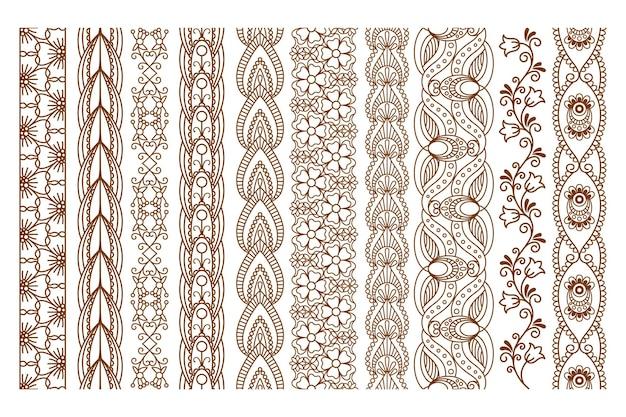Conjunto de bordes sin costuras de henna india ornamental para decoración étnica