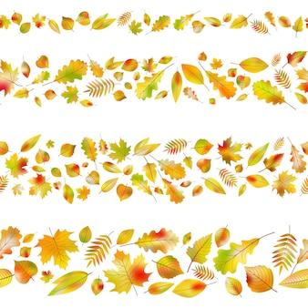 Conjunto de bordes sin costuras de hojas de otoño.