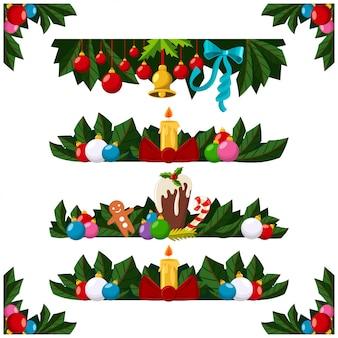 Conjunto de bordes de decoración navideña