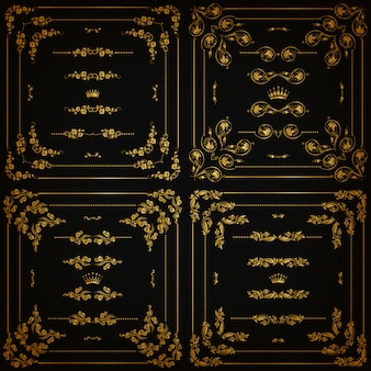 Conjunto de bordes decorativos dorados, marco.