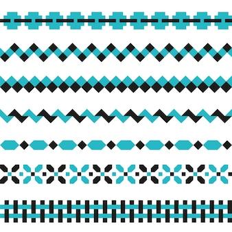 Conjunto de bordes geométricos en dos colores. elementos de decoración de patrones abstractos.