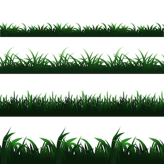 Conjunto de bordes de hierba verde transparente
