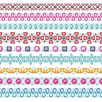 Conjunto de bordes horizontales sin costura de piedras preciosas de colores. estilo étnico. joyas de collar de pulsera de cadena.