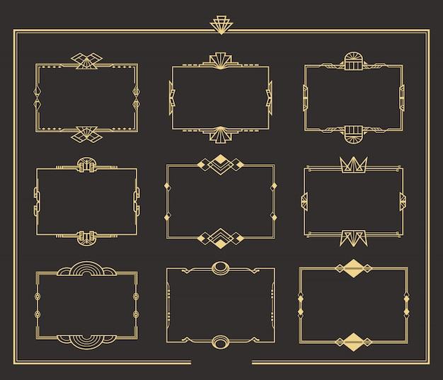 Conjunto de bordes y marcos dorados vintage