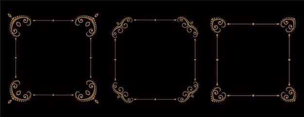 Conjunto de bordes de marcos florales vintage de tres