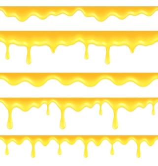 Conjunto de bordes de miel goteando