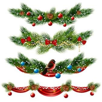 Conjunto de bordes de navidad