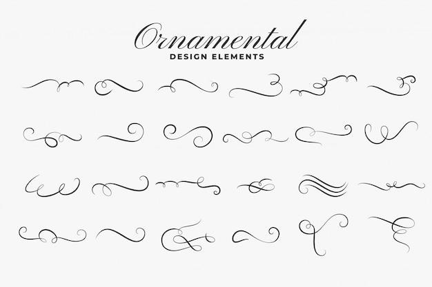 Conjunto de bordes o divisores de rizos ornamentales clásicos