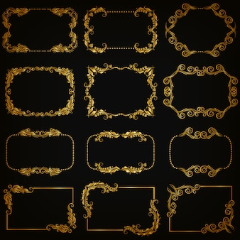 Conjunto de bordes ornamentales decorativos dorados y marco