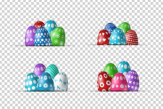 Conjunto de bordes realistas con diseño de huevos de pascua