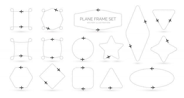 Conjunto de bordes simples creativos de ruta de avión