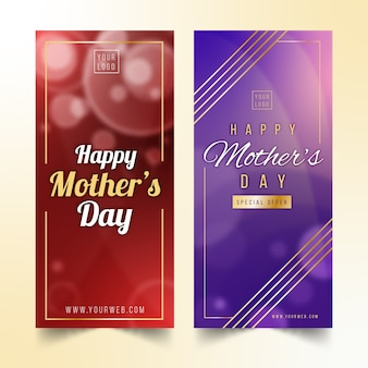 Conjunto borroso de pancartas del día de la madre