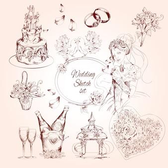 Conjunto de bosquejo de la boda