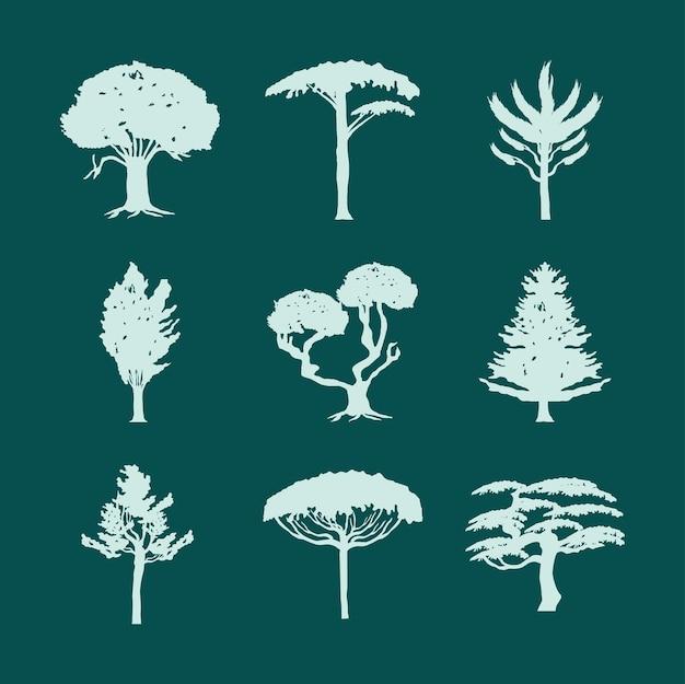 Conjunto botánico de árboles silueta verde