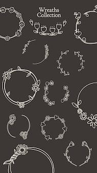 Conjunto botánico floral de la corona